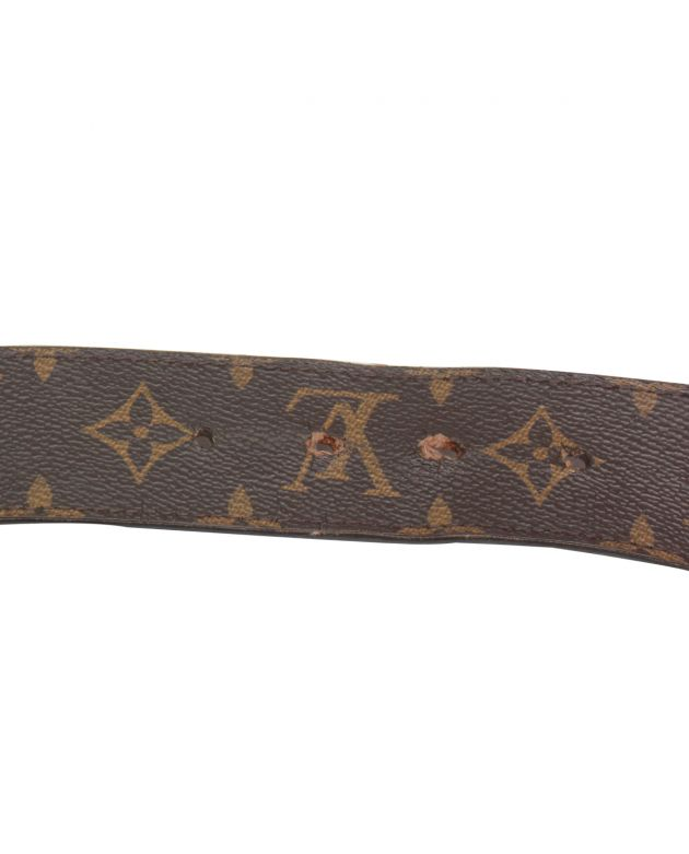 UNISEX MONOGRAM CANVAS LEATHER LOGO BELT SIZE 80