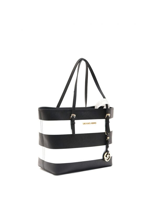Small Black & White Saffiano Jet Set Tote Bag