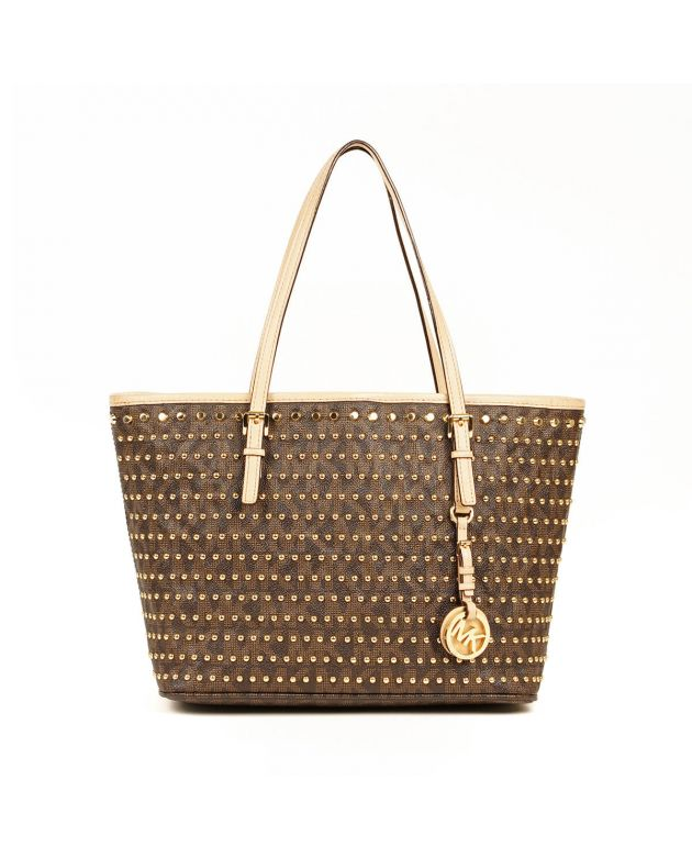 Michael Kors Jet Set Stud Logo Travel Brown Tote Bag