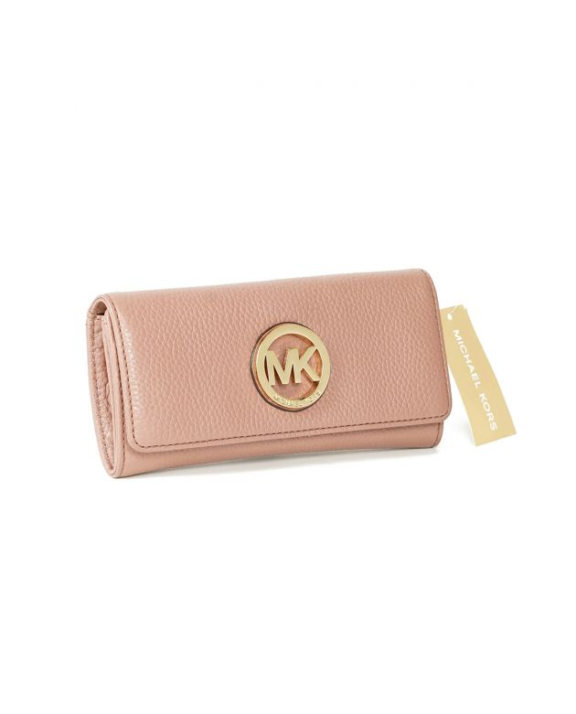 Michael Kors Pink Leather Fulton Wallet