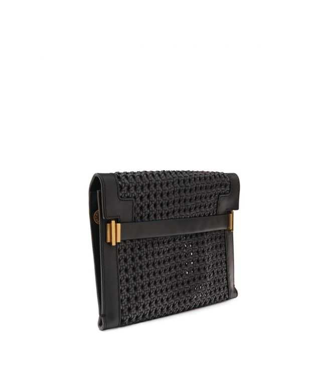 Black Woven Faux Leather Clutch