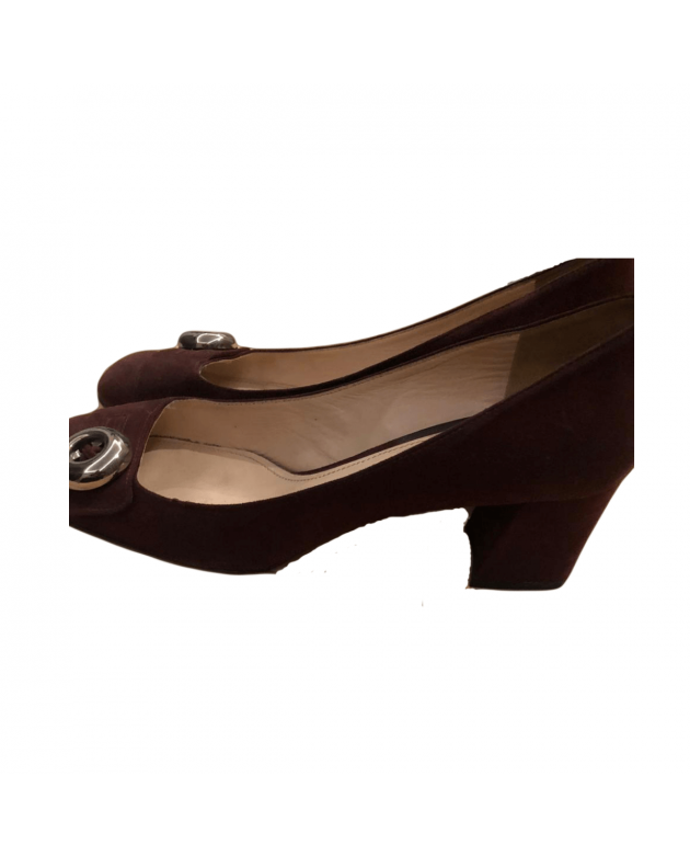 Prada Womens Wine Burgundy Suede Silver-Button Block Heel Pumps Size - 40