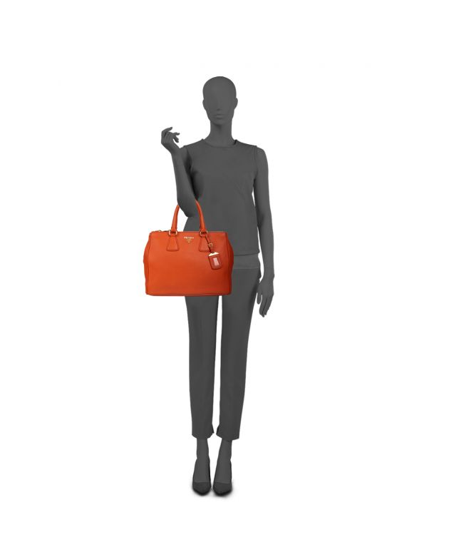 PRADA ORANGE VITELLO DAINO LEATHER SHOPPER TOTE