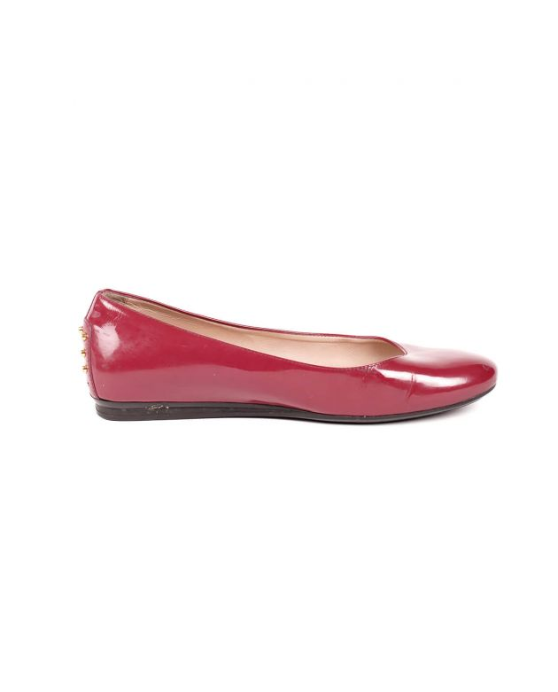 Burgundy Patent Leather Ballerina Flats Shoes with Gold Studs Size - 37