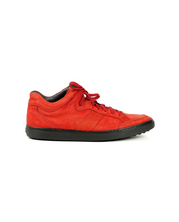 Tod's Men's Navy Red Suede High Top Lace Up Sneakers Size - 8.5