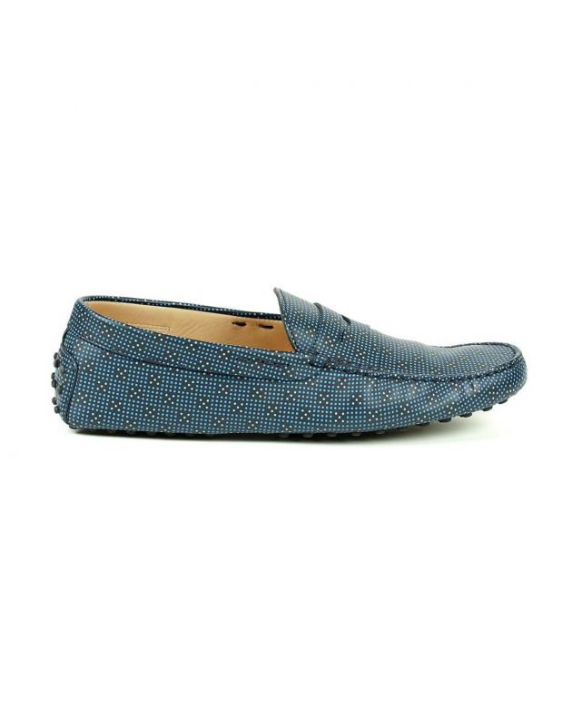 Tod's Gommino Leather Moccasins Blue Loafers Size - 10