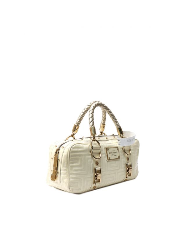 WHITE LEATHER QUILTED SNAP OUT OF IT TOTE BAG