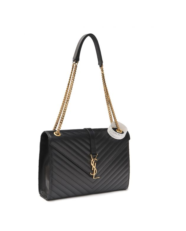BLACK QUILTED LEATHER LARGE MONOGRAM CHAIN CASSANDRE BAG