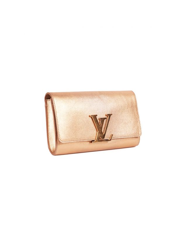 Gold Calfskin Leather Louise Clutch