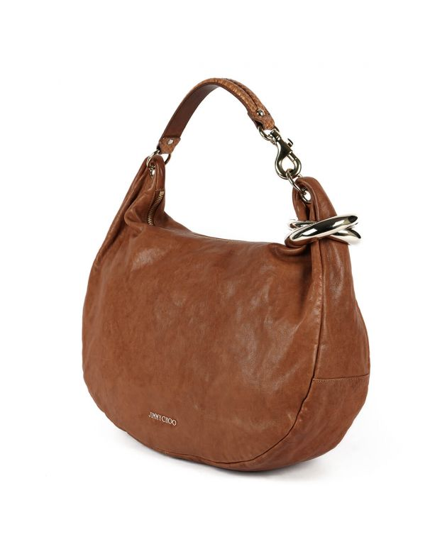 Solar Bracelet Brown Leather Hobo Bag