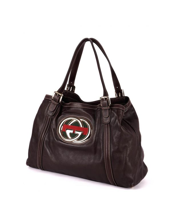 Gucci GG Britt Brown Leather Hobo Bag