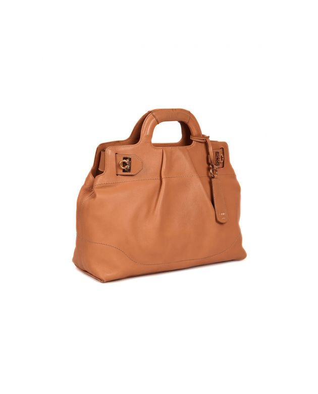 Leather Soft W-Top Handle Bag