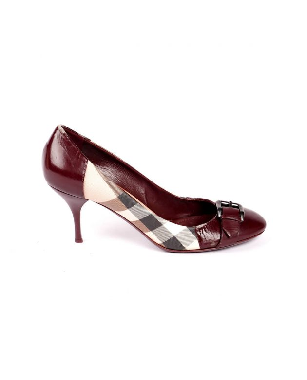 Burberry Check Maroon Heels Size 40