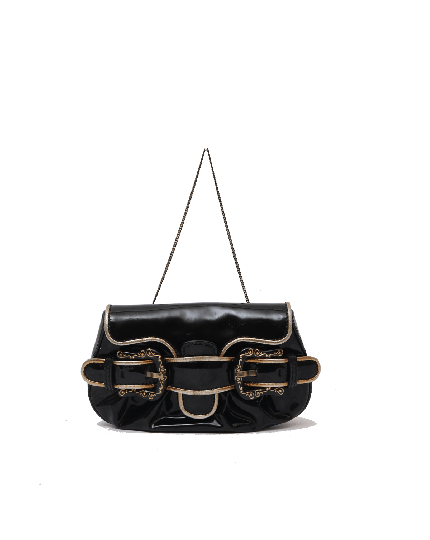 Fendi Toile Vernice Patent B Bag Black