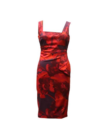 KAREN MILLEN RED & PURPLE PRINTED DRESS SIZE UK 14