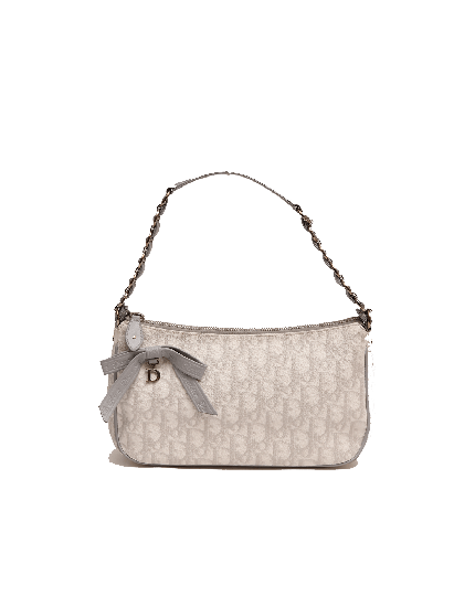 Dior White and Grey Diorissima Monogram Romantique Pochette