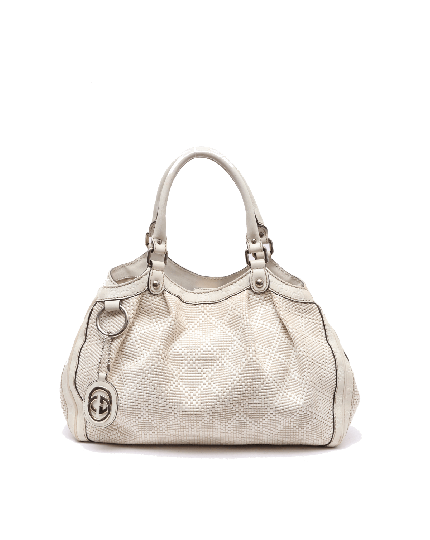 Gucci White Interciatto Top Handle Bag