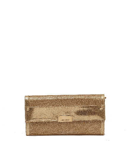 JIMMY CHOO METALLIC GOLD LEATHER CLUTCH