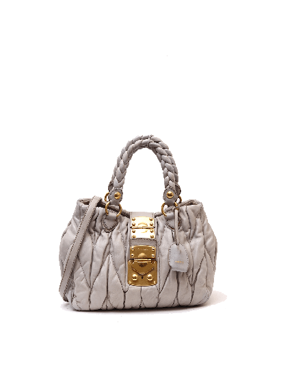Miu Miu grey matelasse leather coffee two way top handle bag
