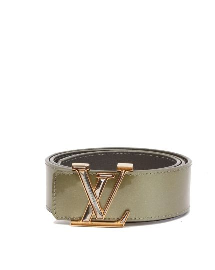WOMAN'S PATENT LEATHER GREEN SIGNATURE 'LV' BUCKLE BELT SIZE 80