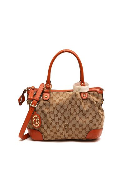 GUCCI MONOGRAM TOTE BAG WITH BROWN TRIMMINGS