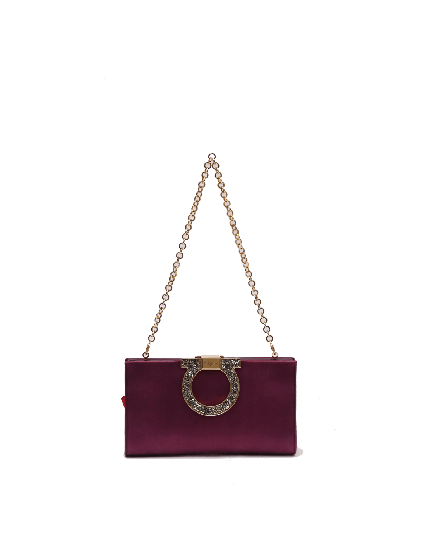 Salvatore Ferragamo Musa Purple Satin Clutch