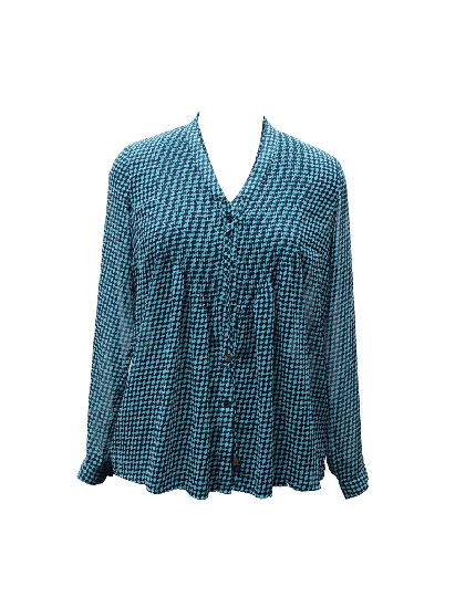 MICHAEL KORS BLUE PLEATED PRINTED TOP