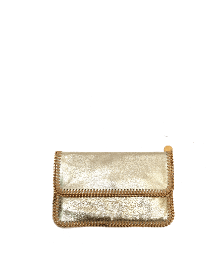 STELLA MCCARTNEY GOLD FOLD OVER FALABELLA CLUTCH