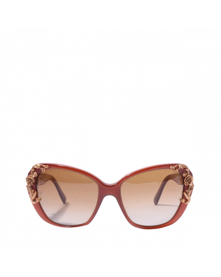 DOLCE & GABBANA MAROON FLORAL SUNGLASSES