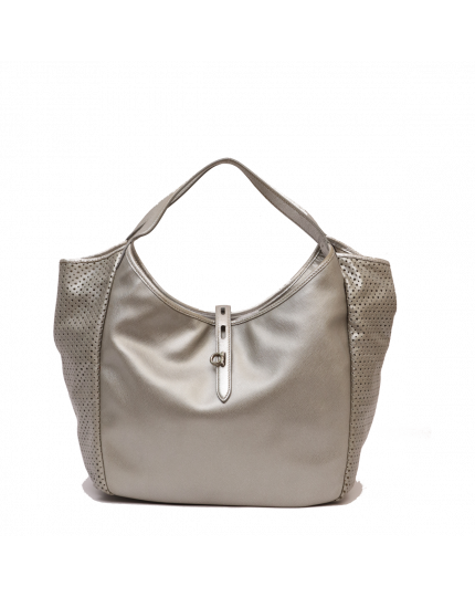 Silver Leather Perforated Hobo Bag