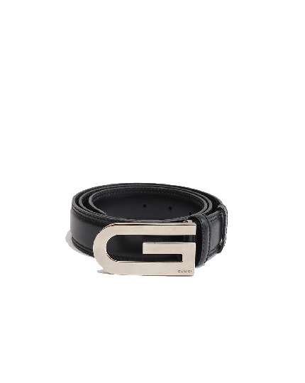 GUCCI BELT G BUCKLE BLACK X SILVER LEATHER HOLDER