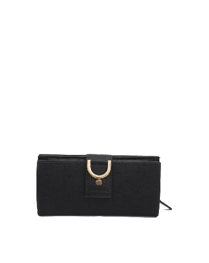 Gucci Black Abbey GG Monogram D Ring Wallet