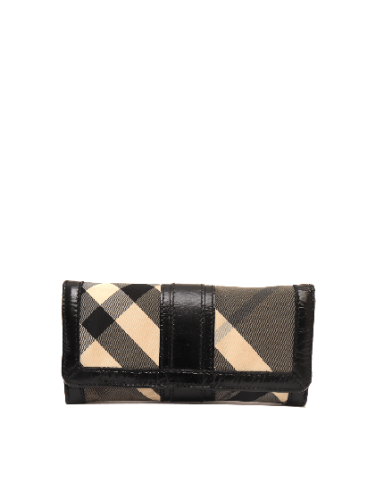 BURBERRY BLACK & WHITE NOVA CHECK WALLET