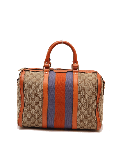 Gucci Orange/Beige GG Canvas Medium Vintage Web Boston Bag