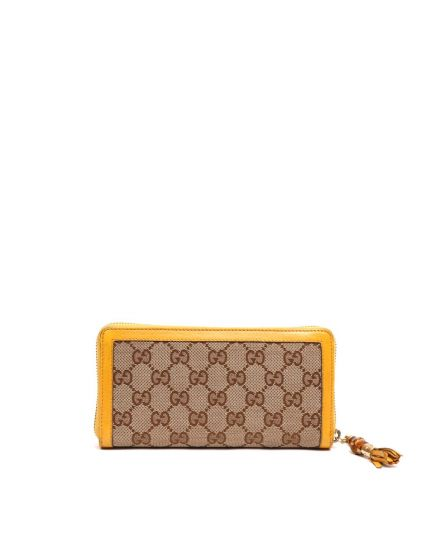 GUCCI MONOGRAM ZIP AROUND WALLET WITH YELLOW TRIMMINGS