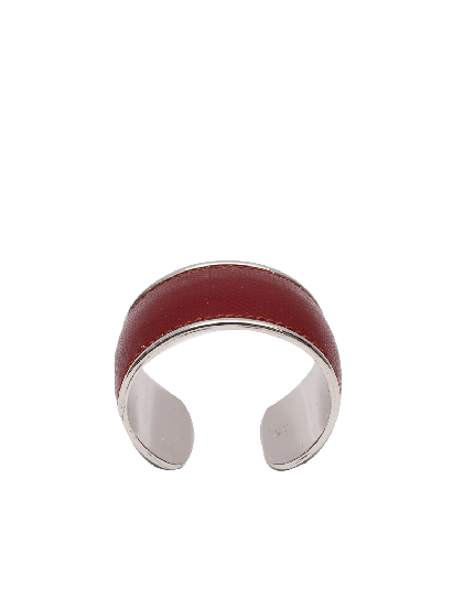 Montblanc Burgundy Leather Silver Cuff Bracelet