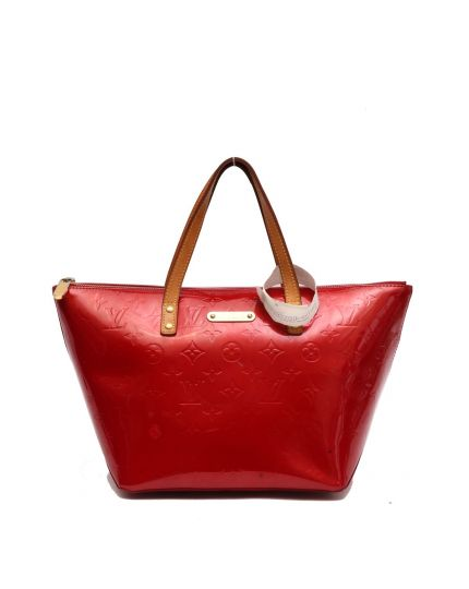 LOUIS VUITTON VERNIS RED BELLEVUE BAG