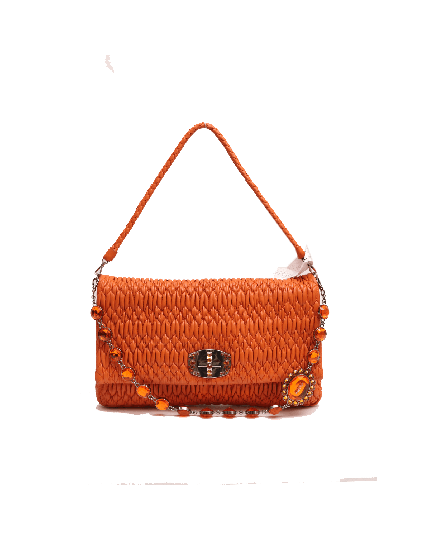 MIU MIU ORANGE LEATHER CRYSTAL NAPPA BAG