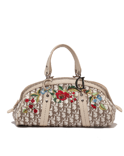 Dior White & Beige Straw and Leather Flower Detective Satchel