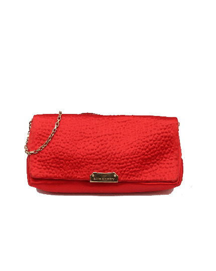 Burberry Small Midenhall Satin Clutch in Red