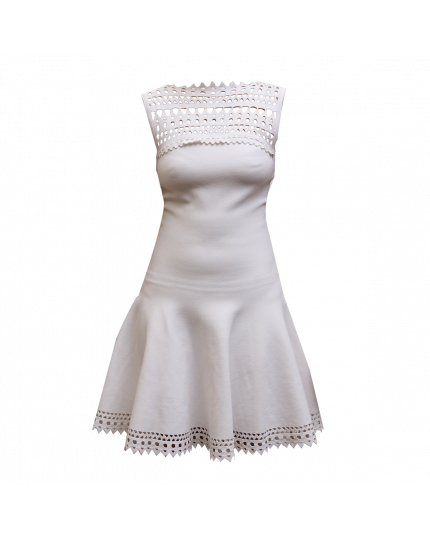 Alaia White Cut Patterned Dress size 36