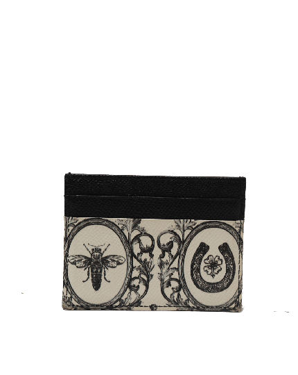 DOLCE & GABBANA CROWNS AND BEES PRINT CREDIT CARD HOLDER