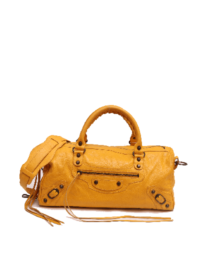 Balenciaga Giant 21 Gold City Yellow Lambskin Leather Shoulder Bag