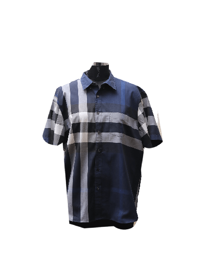 Burberry Check Half Sleeve Shirt in Blue Size XXXL