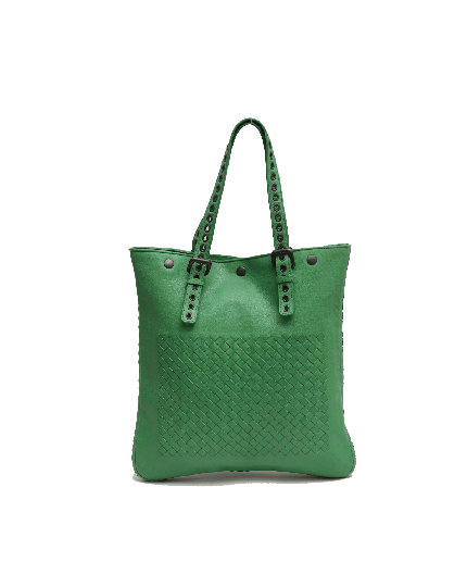 Bottega Veneta Green Intrecciato Woven Nappa Leather Tote