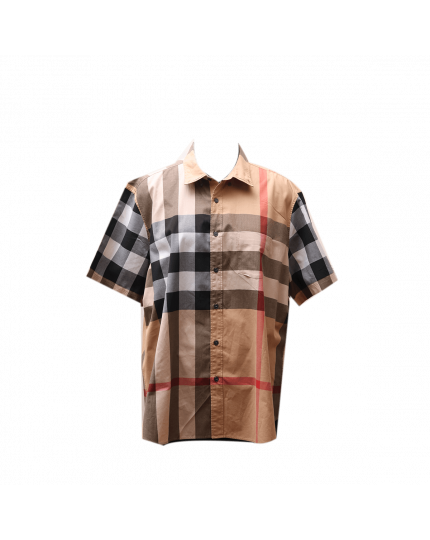 Burberry Check Half Sleeve Shirt in Beige Size XXXL