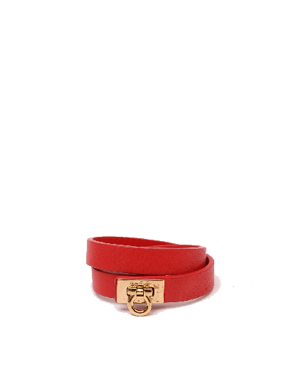 Salvatore Ferragamo Gancini Double Wrap Leather Bracelet
