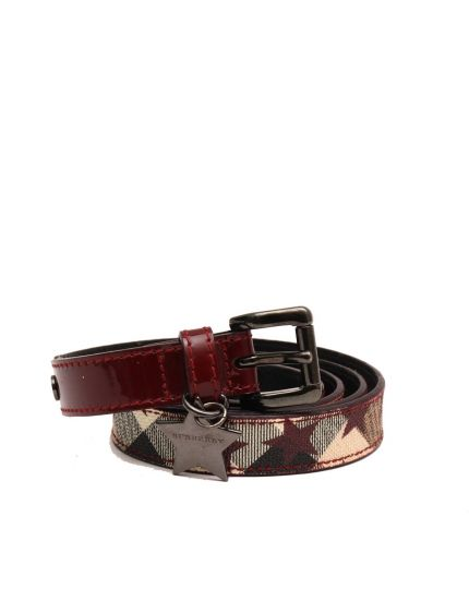 Beige Red Silver Burgundy Multicolor Nova Check Coated Canvas Skinny Belt Size 42