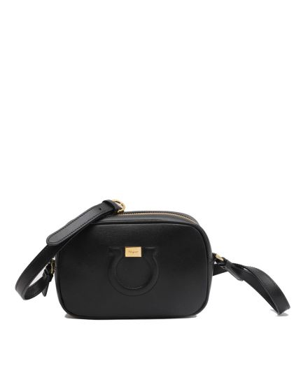 SALVATORE FERRAGAMO GANCIO BLACK LEATHER CAMERA BAG