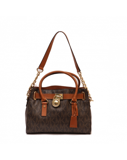 MICHAEL KORS HAMILTON MONOGRAM LOCK AND KEY TOP HANDLE BAG